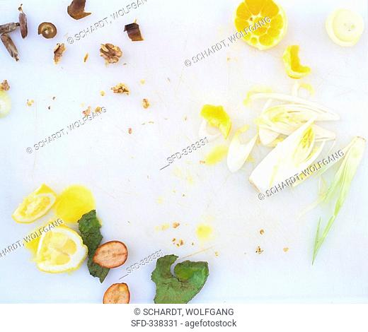 Remains of chicory & orange salad and walnut & date dressing