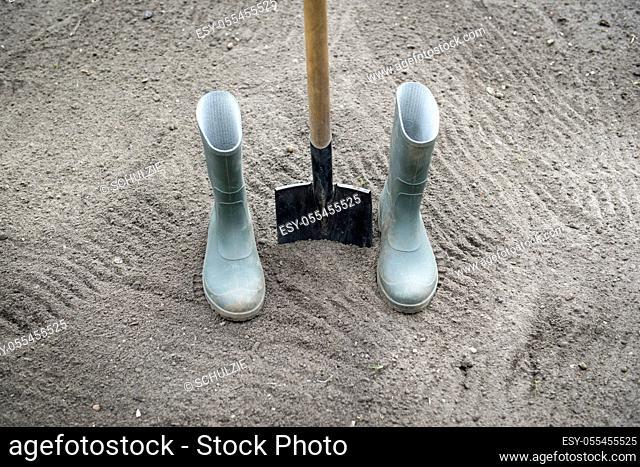 galoshes, gardening, spade