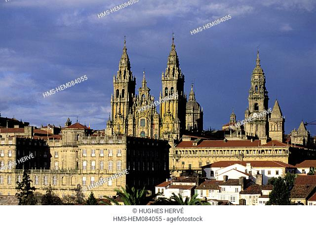 Spain, Galicia, Santiago de Compostela, the cathedral and the old town