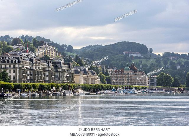 View on the northern shore with Hotel National and Palace, Lucerne, Lake Lucerne, Canton of Lucerne, Switzerland