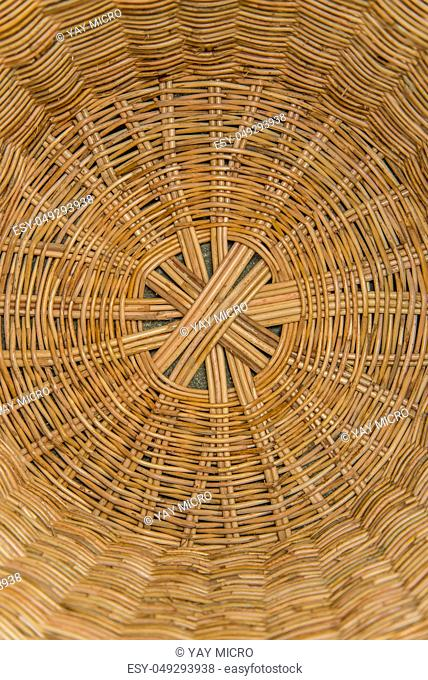 Striped wicker baskets for background