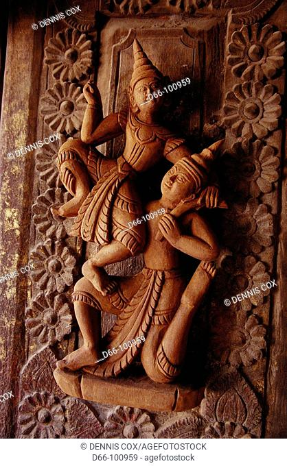 Restored 19th century teak carving, Mandalay. Burma
