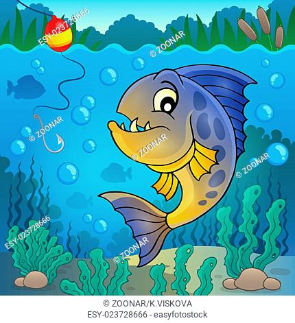 Piranha fish underwater theme 2 - picture illustration