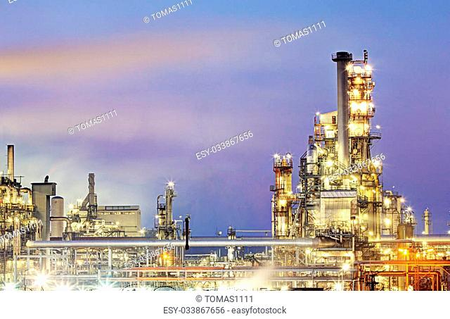 Oil refinery, petrochemical industry night scene