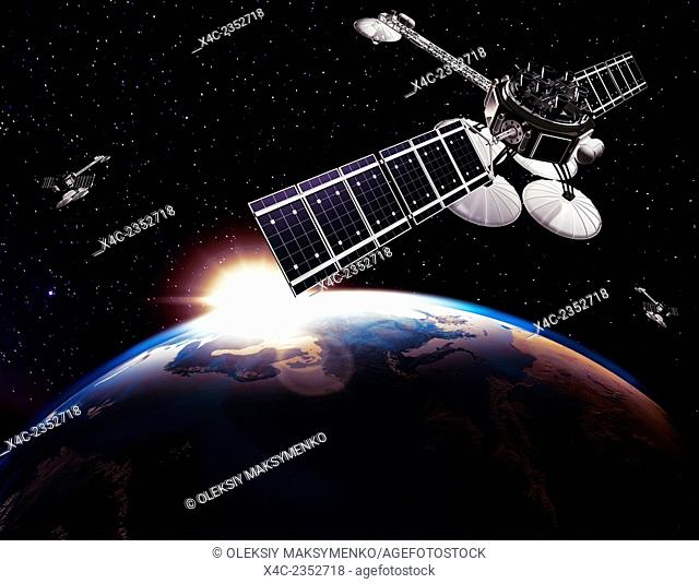 Communication satellites, Comsat, above Earth globe lit by the rising Sun on black starry sky background. Space internet and telecommunications conceptual 3D...