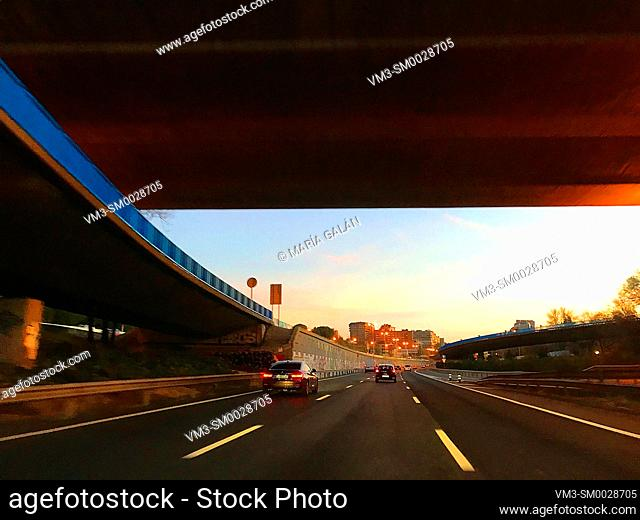 M-30 motorway at dusk. Madrid, Spain