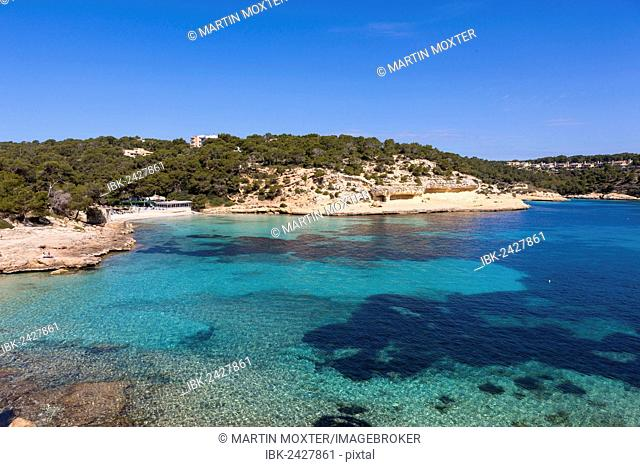Hidden beach of Portals Vells, Three Finger Bay, Cala Portals Vells, Cala Mago, Majorca, Balearic Islands, Spain, Europe