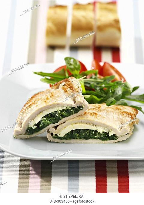 Chicken stuffed with spinach and sheep's cheese