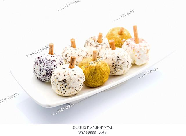 fresh cheese balls with spices