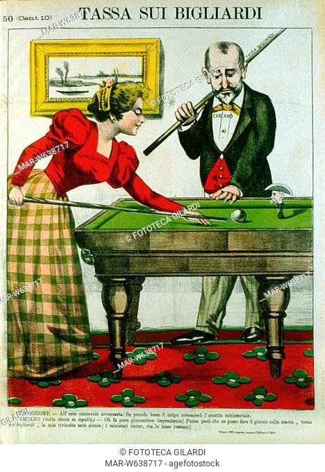 TASSE Paolo Carcano (1843?1918) Ministro delle Finanze, gioca a biliardo con la bella 'Opposizione' spiegando il motivo della legge che impone la tassa sulla...