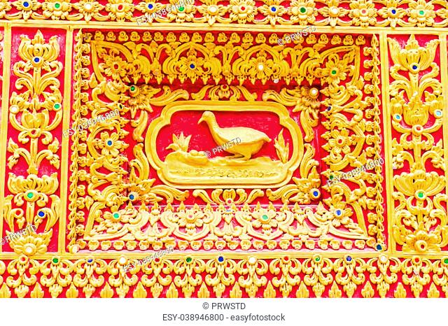 duck Wall sculpture in Thai temple