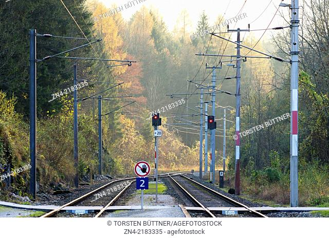 Level Crossing and Stop Signals in Langwies Station, Salzkammergut Cultural Area, Austria