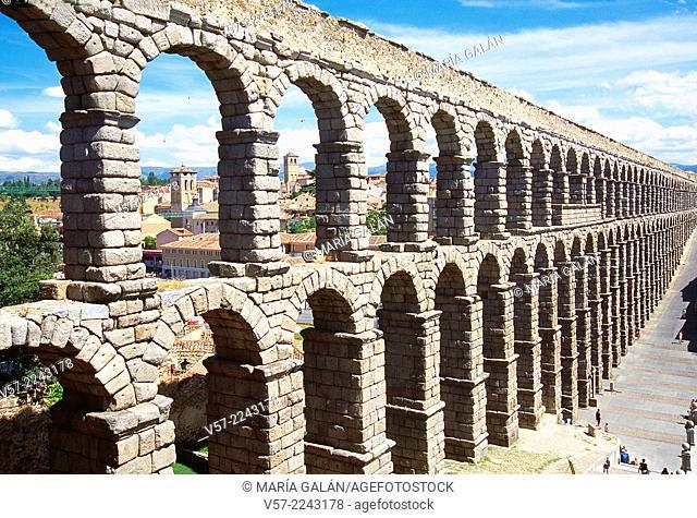 Roman aqueduct. Segovia, Castilla Leon, Spain