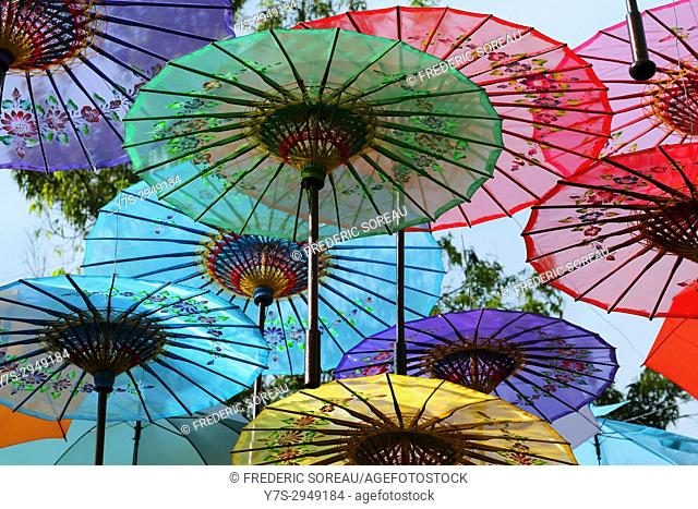 Colorful umbrellas in Borobudur temple, Indonesia, Southeast Asia
