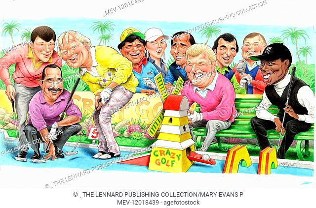 Famous golfers (Nick Faldo, Sam Torrance, Jack Nicklaus, Lee Trevino, Michelle Wie, Severiano Ballesteros, Sandy Lyle, Tony Jacklin, Peter Alliss, Tiger Woods)