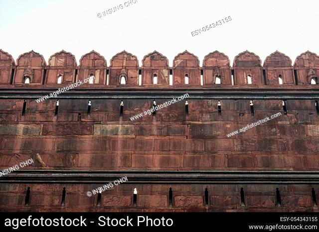 red fort fortress wall and surrounding moat. Red fort is a famous landmark in New Delhi, India