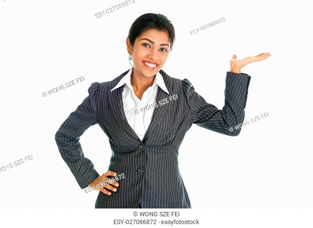 Black business woman in formalwear smiling and hand showing something, isolated on white background