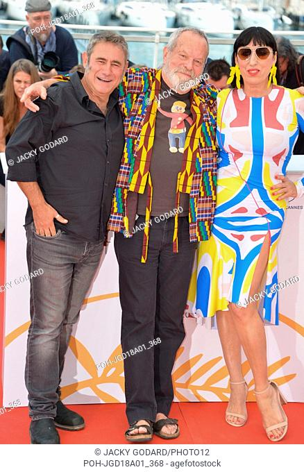 Crew of the film 'The Man Who Killed Don Quixote': Sergi Lopez, Terry Gilliam, Rossy de Palma Photocall of the film 71st Cannes Film Festival May 19