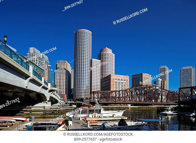 Small Marina Rowes Wharf Downtown Skyline Inner Harbor South Boston Massachusetts Usa