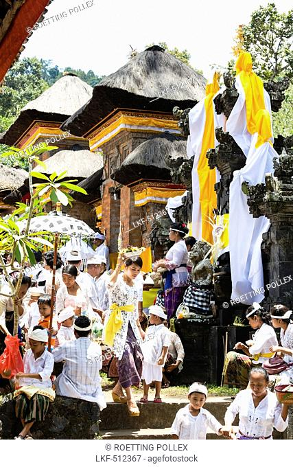 Balinese people at Odalan temple festival, Sidemen, Bali, Indonesia
