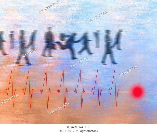Business people rushing and heartbeat