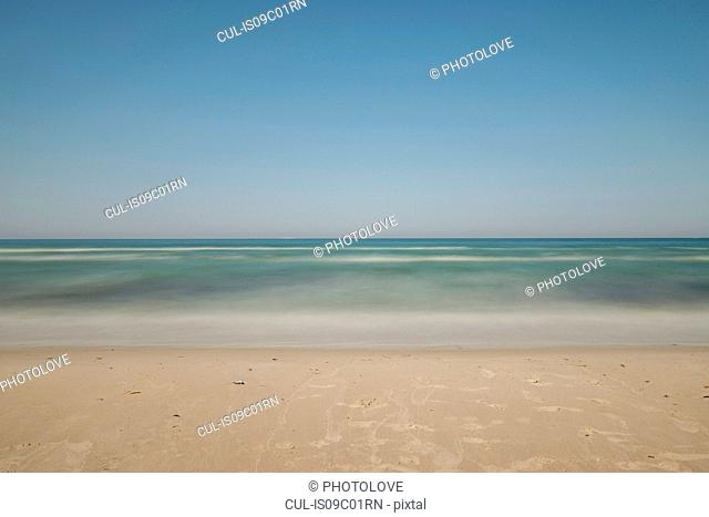 Beach seascape and blue sky, Putgarten, Rugen, Mecklenburg-Vorpommern, Germany