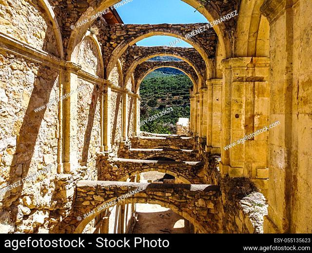 Aerial view of the ruins of an ancient abandoned monastery in Santa Maria de rioseco, Burgos,