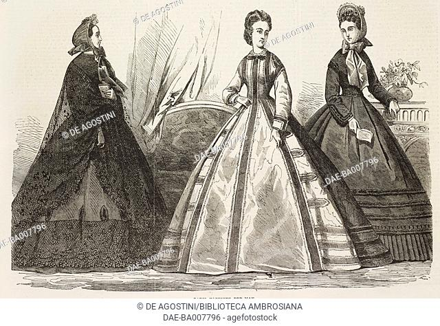 Paris fashions for May, models of women's clothing, illustration from the magazine The Illustrated London News, volume XLIV, April 30, 1864