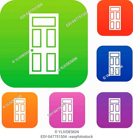 Wooden door with glass set icon in different colors isolated vector illustration. Premium collection