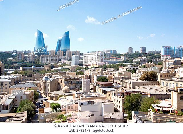 Ariel shoot for Baku city capital of Azerbaijan country, and show some building and flame tower