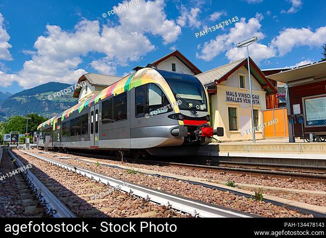 Suedtirol, Italy July 2020: Impressions of Suedtirol July 2020 Mals, Vinschgau, Bahnhof, Vinschgerbahn, Suedtirol | usage worldwide