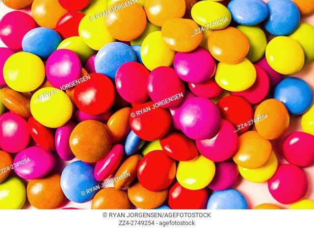 Sweets still life photo on a batch of Multicoloured candy in bright closeup. Sweet food photography