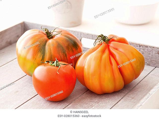 Three different organic tomatoes from Spain