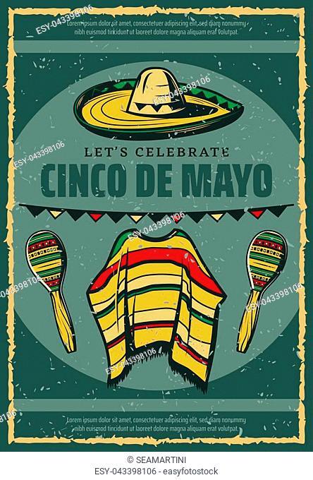 Cinco de Mayo Mexican holiday celebration greeting card or retro sketch poster for Mexico traditional fiesta. Vector sombrero