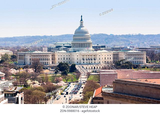 View of the Capitol dome and building in Washington DC taken from the tower of the Old Post Office