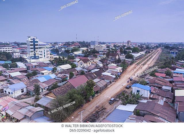 Cambodia, Battambang, elevated city view and Battambang Train Station, dusk