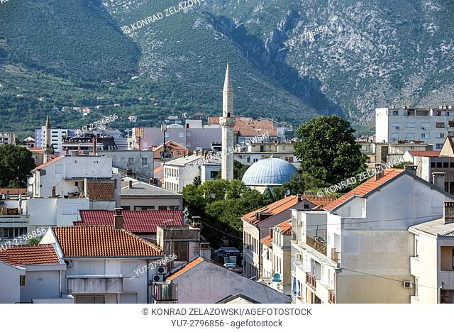 Aerial view from Koski Mehmed Pasha Mosque on Mostar Old Town, Bosnia and Herzegovina. Karagoz Bey Mosque in the middle