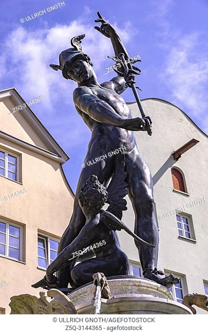 Augsburg, Bavaria, Germany - The Fountain of Mercury on Maximilian Street. Augsburg, Bayern, Deutschland - Der Merkurbrunnen auf der Maximilianstrasse