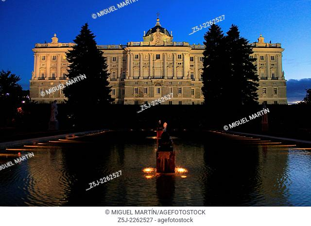 Northern façade of the Palacio Real (Royal Palace) of Madrid from Sabatini Gardens, created in the mid-20th century where Italian Francesco Sabatini had built...