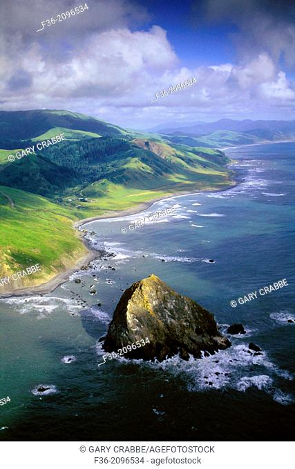 Aerial over Cape Mendocino, the most western point in the continental United States, Humboldt County, CALIFORNIA