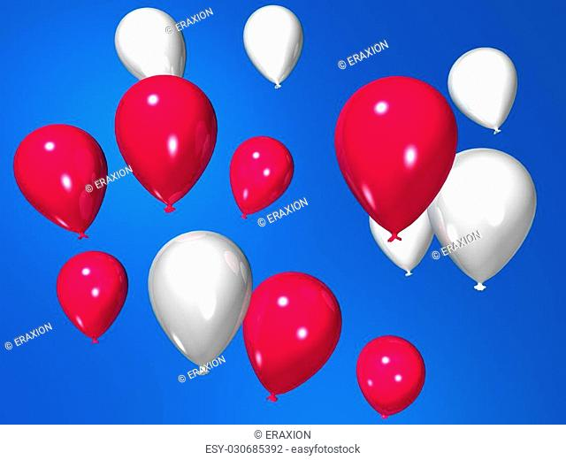 3d rendered illustration of pink and white flying balloons