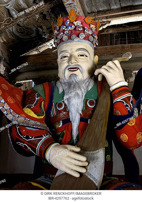 Statue with instrument, Buddhist Pohyon Temple, Myohyang Mountain, North Korea
