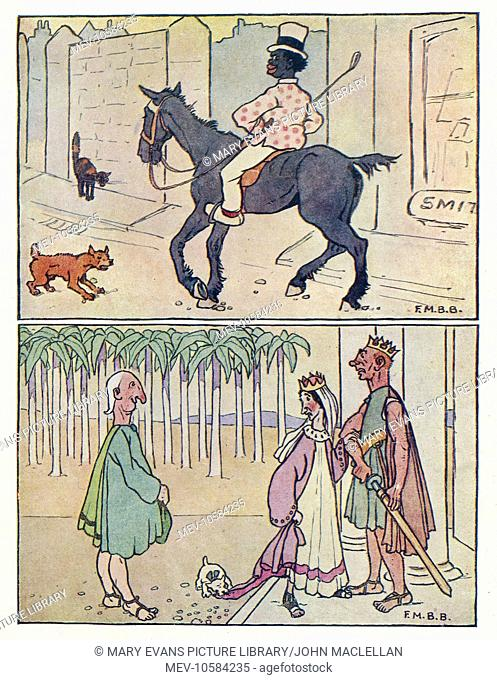 Nursery Rhymes -- two illustrations. Above -- a black man riding a horse down the street. Below -- a royal scene