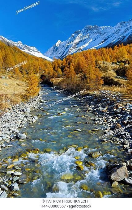 Fluss Lonza mit Aletschhorn und Schinhorn, Lötschenlücke, Wallis, Schweiz