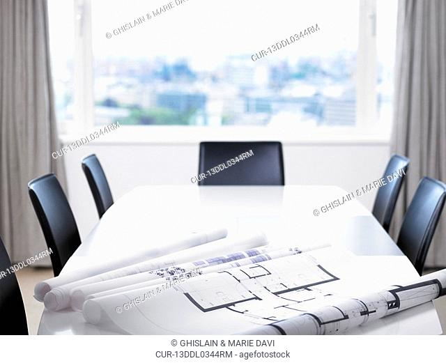 Blue prints on a table