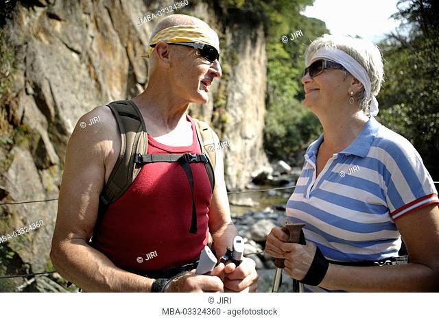 Senior citizen's couple, hiking, vacation in the mountains, Frasnedo, Lago di Como, Italy
