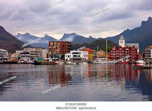 Svolvaer, harbour, reflection, mountains, Austvagoya, Lofoten, Norway, Europe