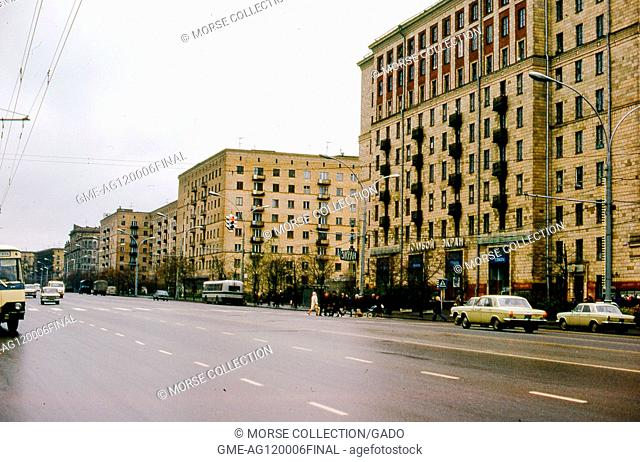 View of the Ekran television and film studio headquarters on Gorky Street (Tverskaya Street), in Moscow, Russia, Soviet Union USSR, November, 1973