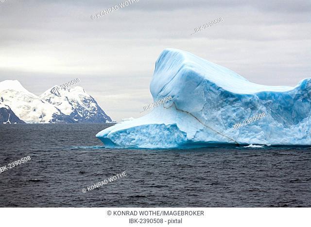 Blue iceberg off Laurie Island, Washington Strait, South Orkneys, Southern Ocean, Antarctica
