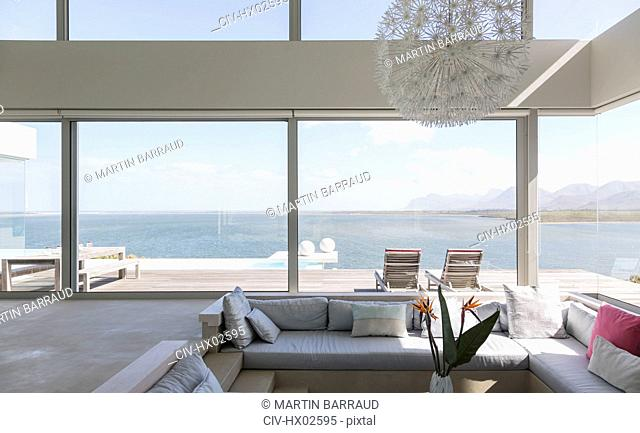 Modern luxury home showcase modern luxury living room with ocean view